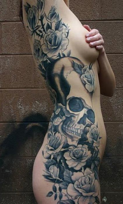 Skull Rose Tattoo Designs